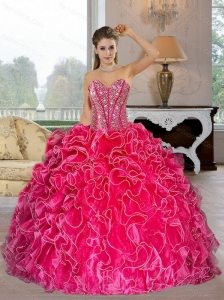 Perfect Sweetheart Ball Gown Sweet 16 Dresses with Beading and Ruffles