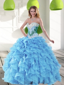 Custom Made 2015 Sweetheart Aqua Blue Quinceanera Dresses with Beading and Ruffles