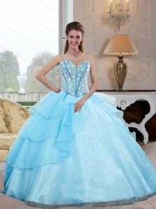 Unique Spaghetti Straps 2015 Sweet 16 Dresses with Beading