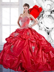2015 Beading and Appliques Red Pretty Quinceanera Dresses with Brush Train and Pick Ups