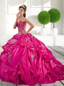 2015 Classical Appliques and Pick Ups Sweet 16 Dress in Hot Pink
