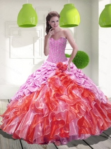 2015 Classical Pick Ups and Ruffles Sweet 16 Dresses in Multi Color