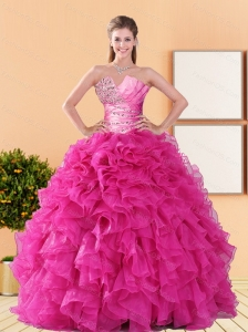 2015 Comfortable Beading and Ruffles Sweet 16 Dresses in Hot Pink