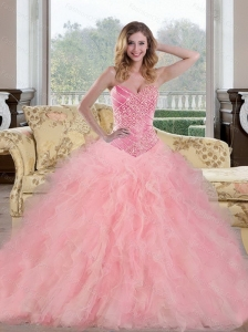 2015 Custom Made Baby Pink Sweet 15 Dresses with Beading and Ruffles