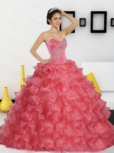 2015 Elegant Sweetheart Sweet 16 Dresses with Appliques and Ruffled Layers