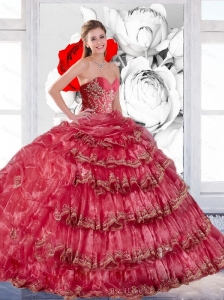 2015 Exclusive Appliques and Ruffles Quinceanera Dress in Coral Red