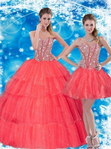 2015 Gorgeous Beading and Ruffled Layers Sweetheart  Quinceanera Dresses in Coral Red