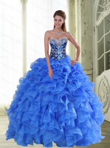 2015 Perfect Beading and Ruffles Strapless Sweet 16 Dresses in Blue