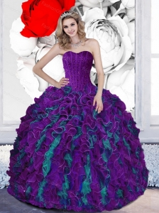2015 Pretty Beading and Ruffles Sweetheart Multi Color Quinceanera Dresses