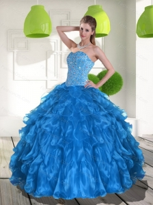 2015 Pretty Blue Quinceanera Dress with Ruffles and Beading