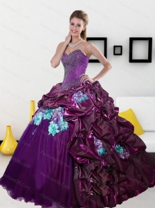2015 Pretty Sweetheart Quinceanera Dresses with Pick Ups and Appliques