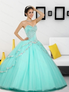 2015 The Super Hot Beading Sweetheart Sweet 16 Dresses in Apple Green