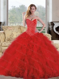 2015 Unique Sweetheart Red Quinceanera Dresses with Appliques and Ruffles