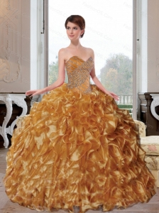 2015 Wonderful Sweetheart Appliques and Ruffles Sweet 16 Dresses