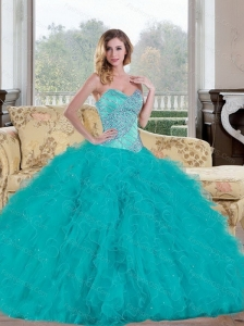 Exquisite 2015 Ball Gown Sweet 16 Dress with Beading and Ruffles