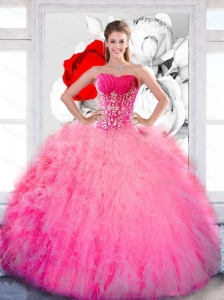Flirting Strapless 2015 Quinceanera Gown with Ruffles and Appliques