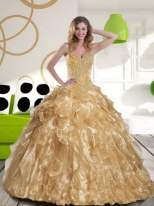 Inexpensive Beading and Ruffles Sweetheart 2015 Champagne Sweet 16 Dresses