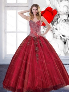New Style 2015 Sweetheart Sweet 16 Dresses with Appliques