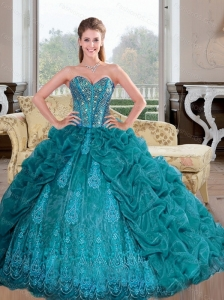 Popular 2015 Sweetheart  Quinceanera Dresses with Beading and Pick Ups