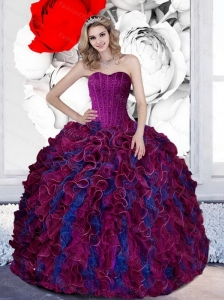 Pretty Beading and Ruffles Sweetheart 2015 Quinceanera Dresses in Multi Color