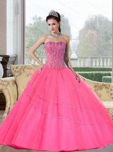 Pretty Beading Strapless Quinceanera Dresses for 2015