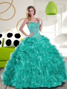 Pretty Sweetheart Beading and Ruffles Quinceanera Dress for 2015