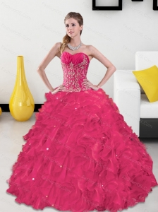 Pretty Sweetheart Quinceanera Gown with Appliques and Ruffles