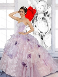 Unique Beading and Appliques 2015 Artistic Quinceanera Dresses with Brush Train