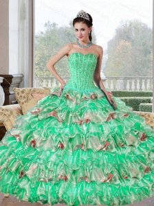 Unique Beading and Ruffled Layers Quinceanera Dresses for 2015