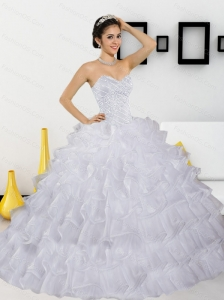 Unique  Beading and Ruffled Layers White Quinceanera Dresses for 2015