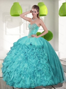 Unique  Beading and Ruffles Strapless Aqua Blue Quinceanera Dresses for 2015