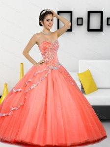 Unique Beading Sweetheart 2015 Quinceanera Gown in Orange Red