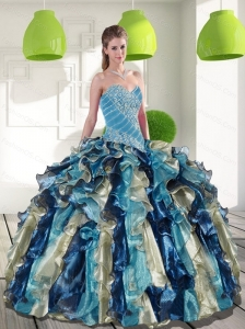Unique Multi Color Quinceanera Dresses with Beading and Ruffles for 2015
