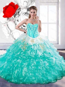 Unique  Sweetheart Ball Gown Sweet 15 Dresses with Beading and Ruffles