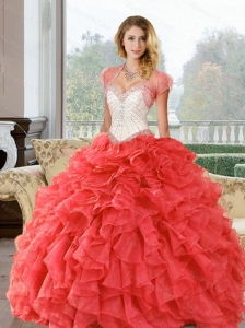 Wonderful Beading and Ruffles Sweetheart Sweet 16 Dresses for  2015