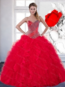 2014 Puffy Sweetheart Red Quinceanera Dress with Beading and Ruffles