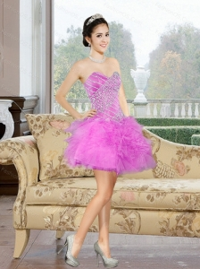 2015 Beautiful Mini Length Sweetheart Prom Dresses with Appliques and Ruffles