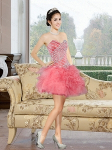 2015 Comfortable Mini Length Prom Dress with Appliques and Ruffles