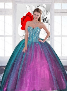 2015  Cute Sweetheart Quinceanera Dresses with Beading
