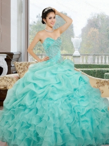 2015 Cute Sweetheart Quinceanera Dresses with Ruffles and Pick Ups