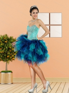 2015 New Style Beading and Ruffles Sweetheart Prom Dresses in Multi Color