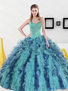 2015 Perfect Sweetheart Quinceanera Dresses with Appliques and Ruffles