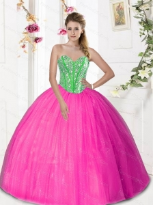 2015 Puffy  Sweetheart Quinceanera Dresses with Beading and Pick Ups