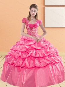 Cute Sweetheart 2015 Quinceanera Gown with Appliques and Pick Ups