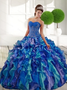 Cute  Sweetheart 2015 Quinceanera Gown with Appliques and Ruffles