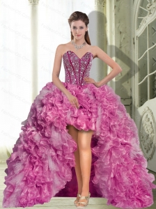 Dynamic High Low Beading and Ruffles 2015 Prom Dress