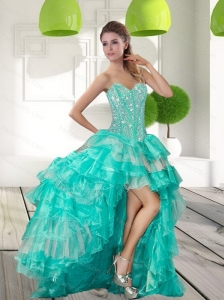 Fashionable Beading and Ruffled Layers High Low Prom Dress for 2015