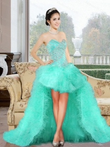 Luxurious 2015 High Low Prom Dress with Appliques and Ruffles