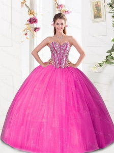 Puffy  Beading and Pick Ups 2015 Quinceanera Dresses in Hot Pink