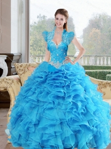 Puffy  Beading and Ruffles Sweetheart 2015 Quinceanera Dresses in Baby Blue
